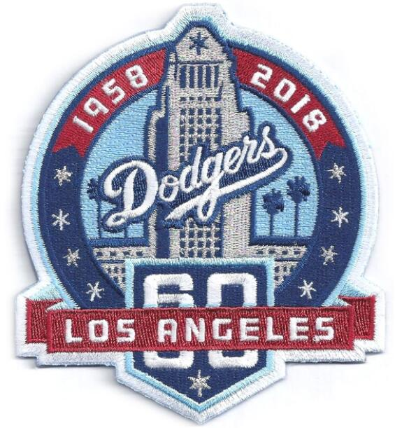 2018 Los Angeles Dodgers 60th Anniversary Season Jersey Sleeve Patch