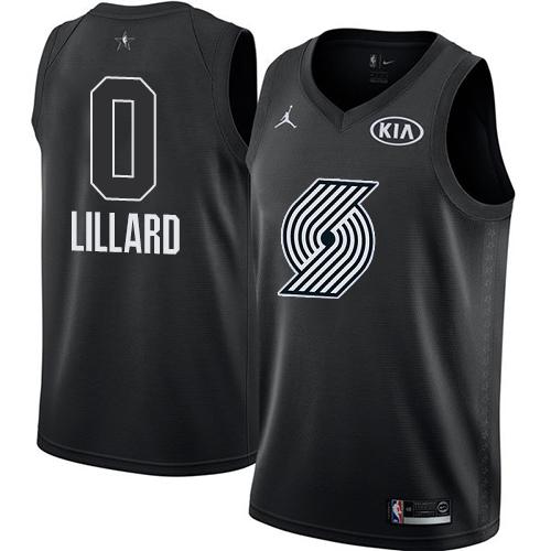 #0 Swingman Damian Lillard Black Nike Jordan NBA Men's Jersey Portland Trail Blazers 2018 All-Star Game