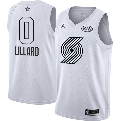 #0 Swingman Damian Lillard White Nike Jordan NBA Men's Jersey Portland Trail Blazers 2018 All-Star Game