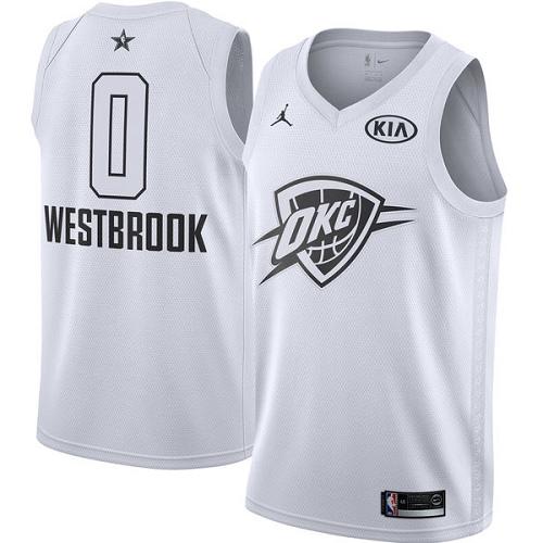 #0 Swingman Russell Westbrook White Nike Jordan NBA Men's Jersey Oklahoma City Thunder 2018 All-Star Game