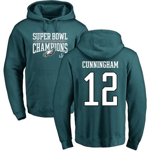 #12 Randall Cunningham Green Nike NFL Super Bowl LII Champions  Philadelphia Eagles Pullover Hoodie