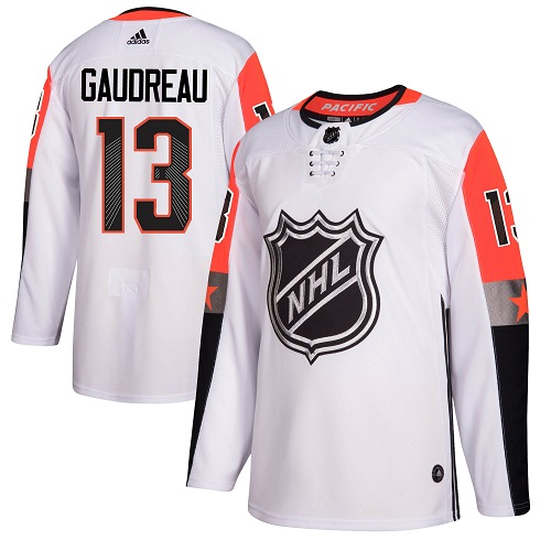 #13 Johnny Gaudreau White Adidas NHL Men's Jersey Calgary Flames 2018 All-Star Pacific Division