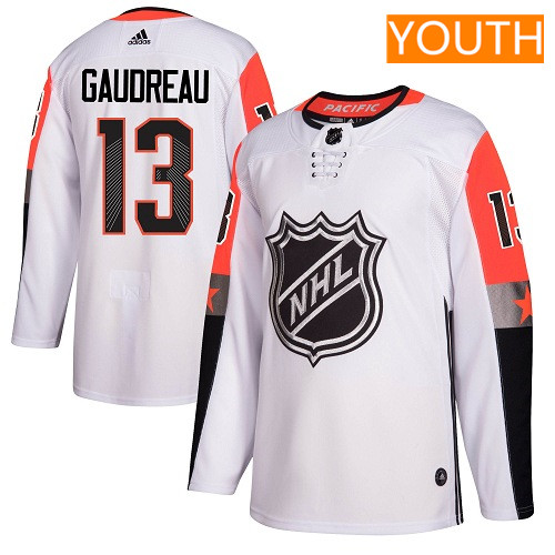 #13 Johnny Gaudreau White Adidas NHL Youth Jersey Calgary Flames 2018 All-Star Pacific Division