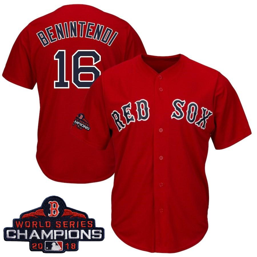 #16 Andrew Benintendi Men's Boston Red Sox Majestic Scarlet 2018 World Series Champions Team Logo Player Jersey