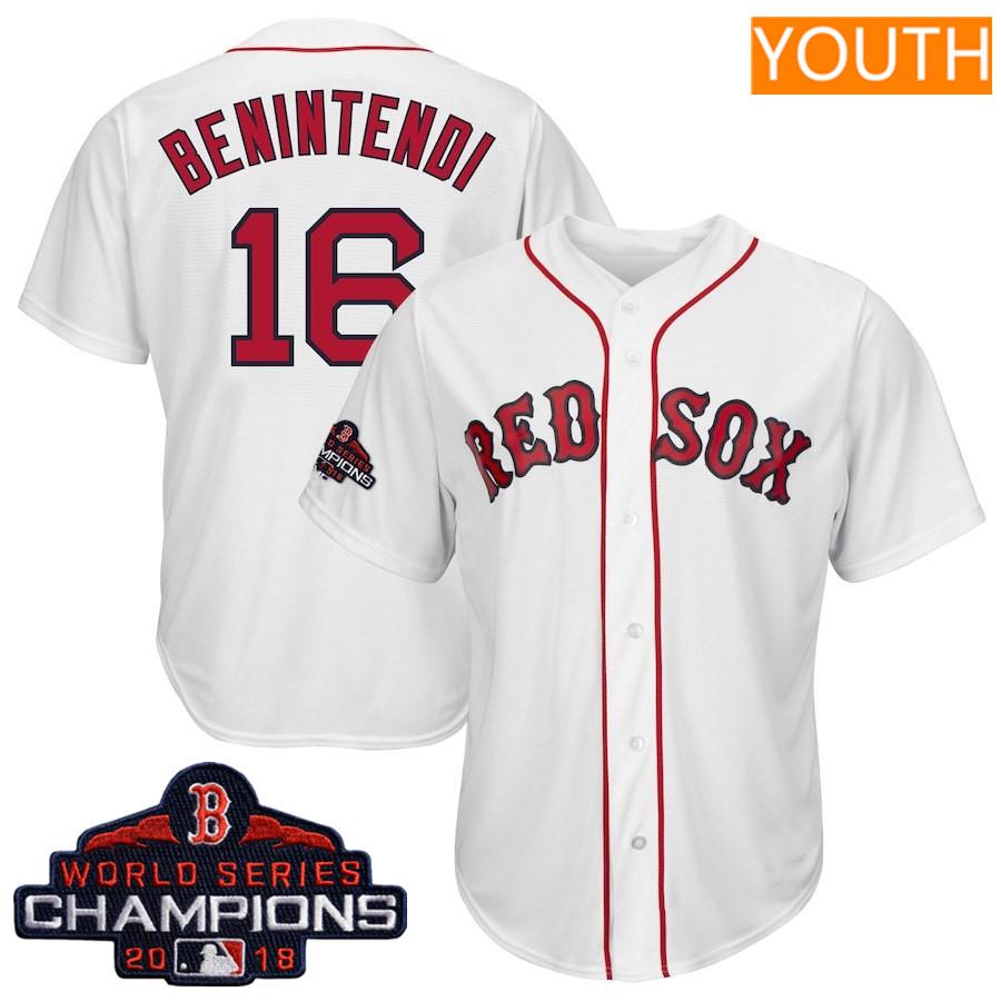 #16 Andrew Benintendi Youth Boston Red Sox Majestic White 2018 World Series Champions Team Logo Player Jersey