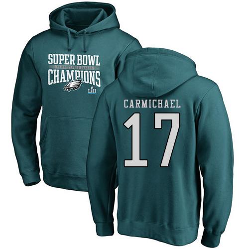 #17 Harold Carmichael Green Nike NFL Super Bowl LII Champions  Philadelphia Eagles Pullover Hoodie