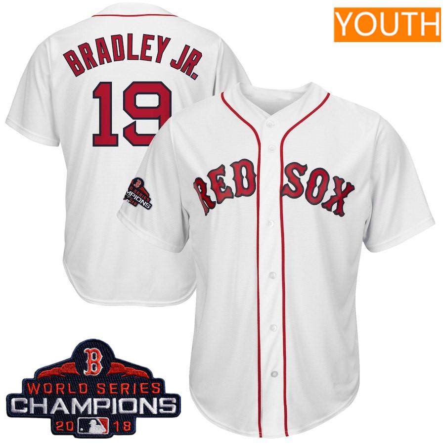 #19 Jackie Bradley Jr. Youth Boston Red Sox Majestic White 2018 World Series Champions Team Logo Player Jersey