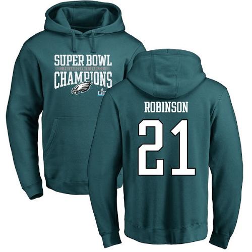 #21 Patrick Robinson Green Nike NFL Super Bowl LII Champions  Philadelphia Eagles Pullover Hoodie