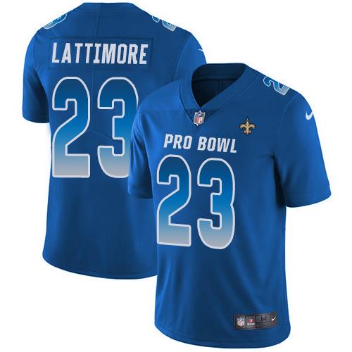 #23 Marshon Lattimore Royal Blue Nike NFL Game Men's Jersey New Orleans Saints 2018 Pro Bowl