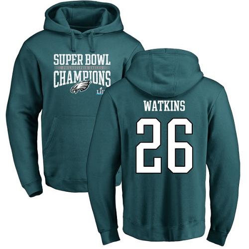 #26 Jaylen Watkins Green Nike NFL Super Bowl LII Champions  Philadelphia Eagles Pullover Hoodie
