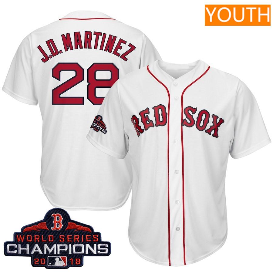 #28 J.D. Martinez Youth Boston Red Sox Majestic White 2018 World Series Champions Team Logo Player Jersey