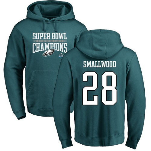 #28 Wendell Smallwood Green Nike NFL Super Bowl LII Champions  Philadelphia Eagles Pullover Hoodie