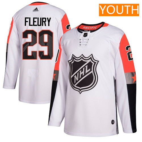 #29 Marc-Andre Fleury White Adidas NHL Youth Jersey Vegas Golden Knights 2018 All-Star Pacific Division