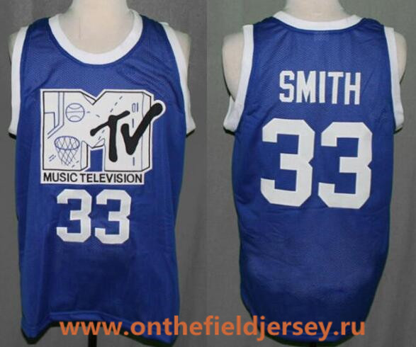 Men's The Moive #33 Will Smith MTV First Annual Rock N' Jock B Ball Jam 1991 Royal Blue Stitched Basketball Jersey