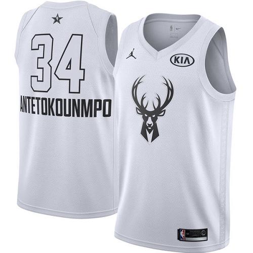 #34 Swingman Giannis Antetokounmpo White Nike Jordan NBA Men's Jersey Milwaukee Bucks 2018 All-Star Game