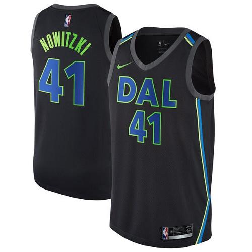 #41 Dirk Nowitzki Black Basketball Men's Jersey Dallas Mavericks City Edition