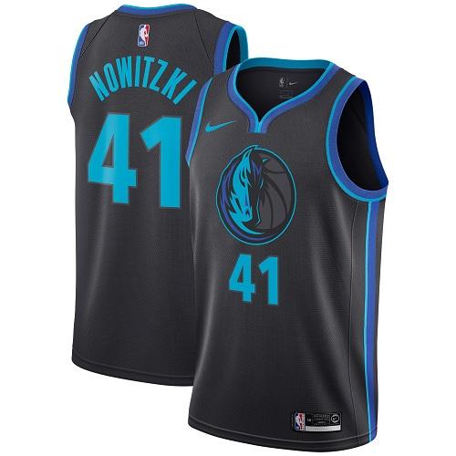#41 Dirk Nowitzki Charcoal Basketball Men's Jersey Dallas Mavericks City Edition