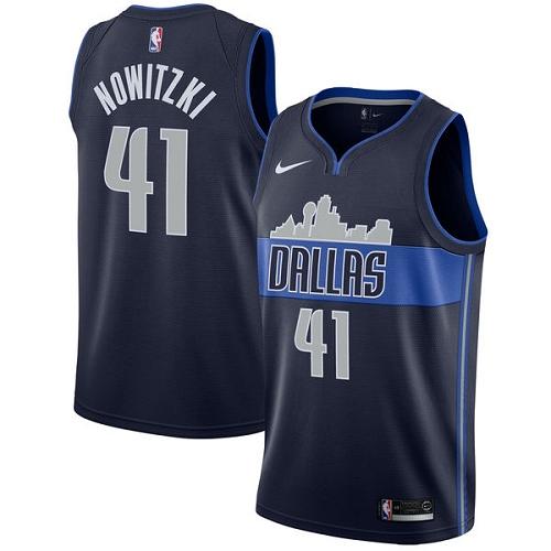 #41 Dirk Nowitzki Navy Blue Basketball Men's Jersey Dallas Mavericks Statement Edition