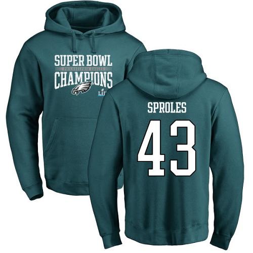 #43 Darren Sproles Green Nike NFL Super Bowl LII Champions  Philadelphia Eagles Pullover Hoodie