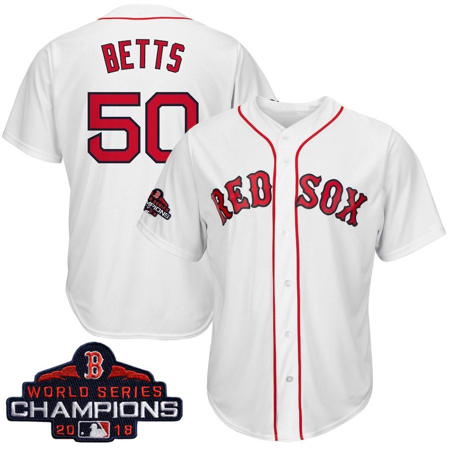 #50 Mookie Betts Men's Boston Red Sox Majestic White 2018 World Series Champions Cool Base Big & Tall Player Jersey