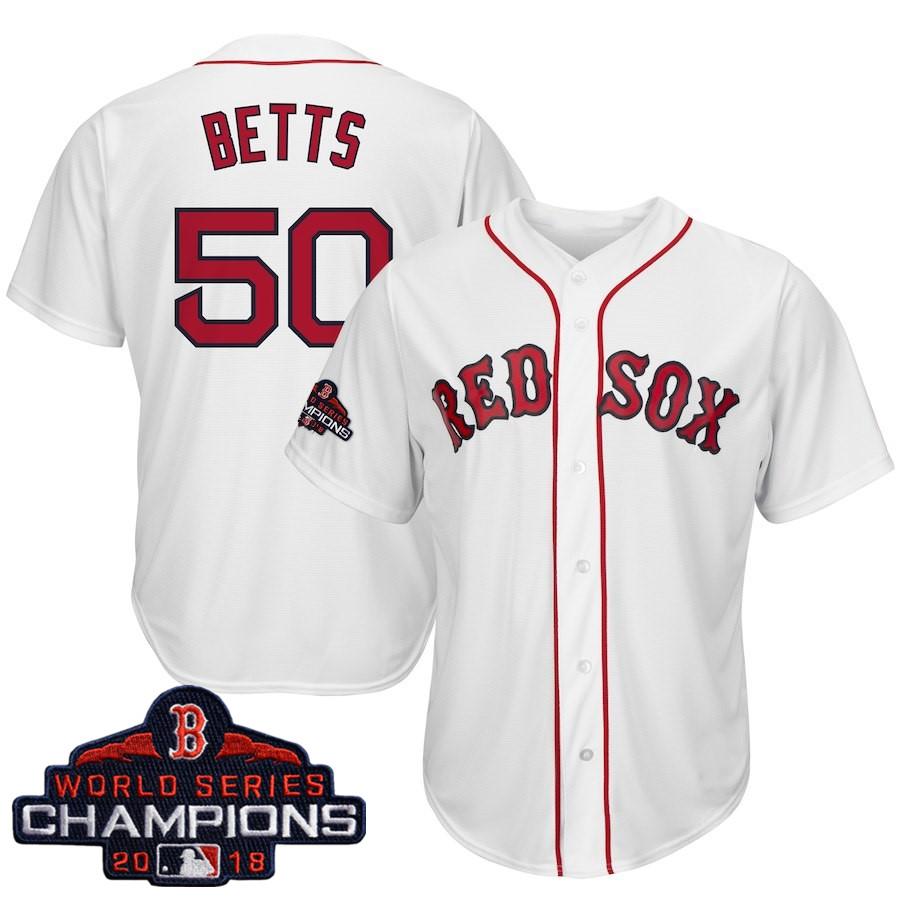 #50 Mookie Betts Men's Boston Red Sox Majestic White 2018 World Series Champions Team Logo Player Jersey