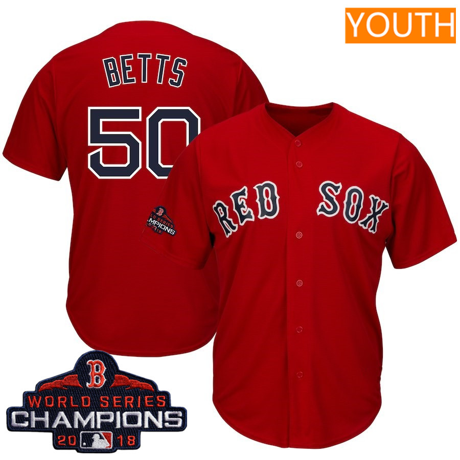 #50 Mookie Betts Youth Boston Red Sox Majestic Scarlet 2018 World Series Champions Team Logo Player Jersey