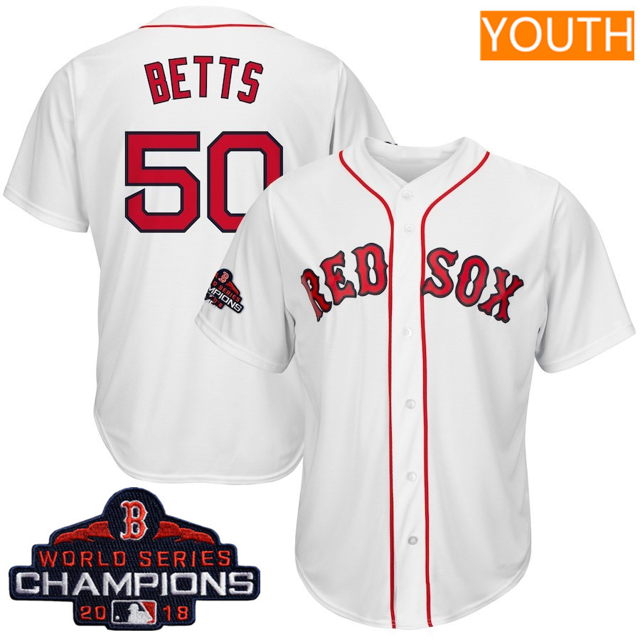 #50 Mookie Betts Youth Boston Red Sox Majestic White 2018 World Series Champions Cool Base Big & Tall Player Jersey
