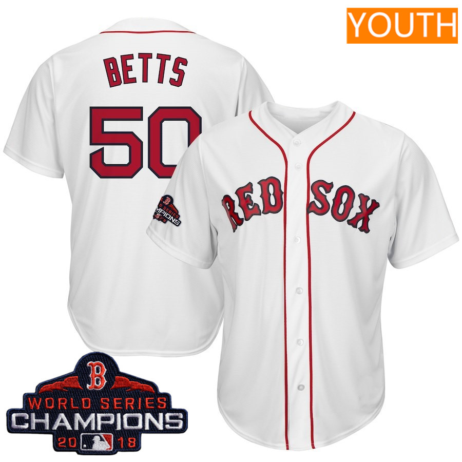 #50 Mookie Betts Youth Boston Red Sox Majestic White 2018 World Series Champions Team Logo Player Jersey