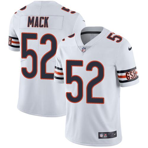 #52 Khalil Mack White Nike NFL Road Men's Jersey Chicago Bears Vapor Untouchable
