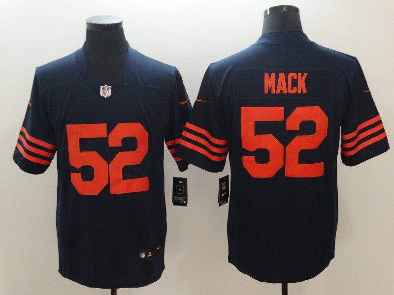 #52 Limited Khalil Mack Navy Blue with Orange Nike NFL Men's Jersey Chicago Bears Rush Vapor Untouchable