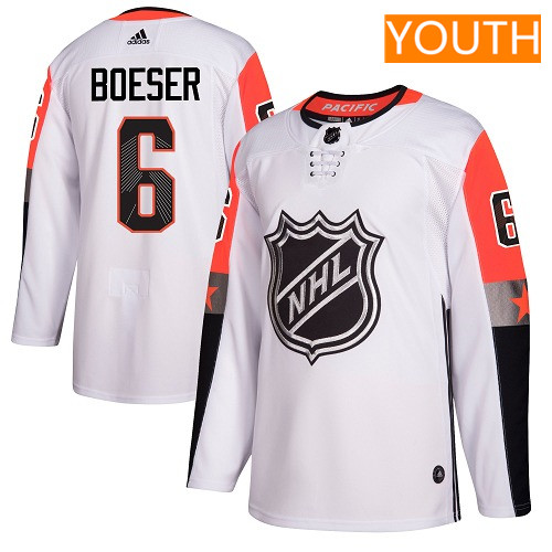 #6 Brock Boeser White Adidas NHL Youth Jersey Vancouver Canucks 2018 All-Star Pacific Division