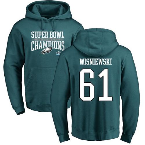 #61 Stefen Wisniewski Green Nike NFL Super Bowl LII Champions  Philadelphia Eagles Pullover Hoodie