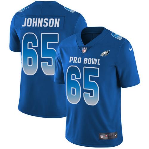 #65 Lane Johnson Royal Blue Nike NFL Game Men's Jersey Philadelphia Eagles 2018 Pro Bowl