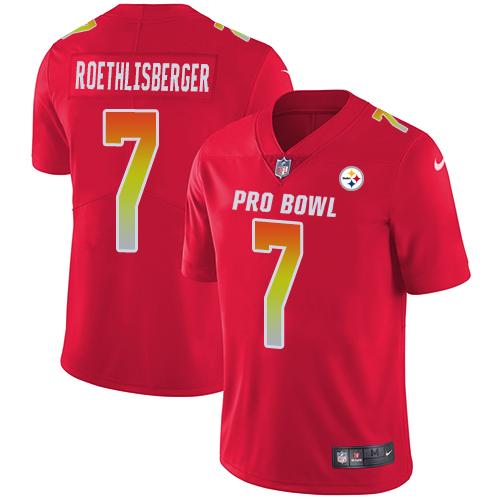 #7 Ben Roethlisberger Red Nike NFL Game Men's Jersey Pittsburgh Steelers 2018 Pro Bowl