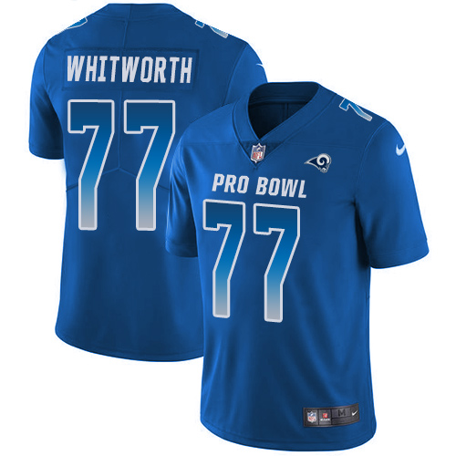#77 Andrew Whitworth Royal Blue Nike NFL Game Men's Jersey Los Angeles Rams 2018 Pro Bowl