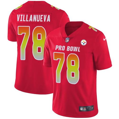 #78 Alejandro Villanueva Red Nike NFL Game Men's Jersey Pittsburgh Steelers 2018 Pro Bowl