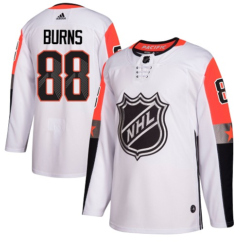 #88 Brent Burns White Adidas NHL Men's Jersey San Jose Sharks 2018 All-Star Pacific Division