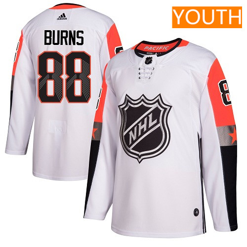 #88 Brent Burns White Adidas NHL Youth Jersey San Jose Sharks 2018 All-Star Pacific Division