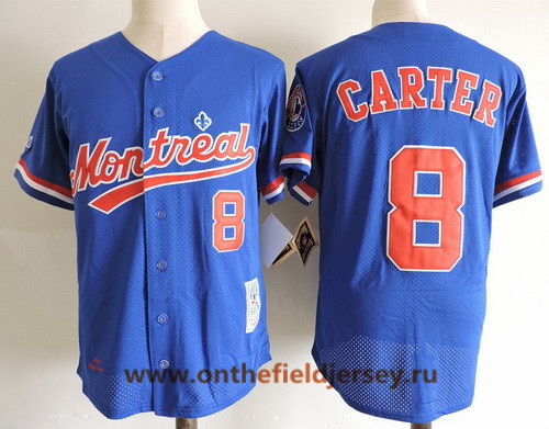 Men's Montreal Expos #8 Gray Carter Navy Blue Mesh BP 1984 Throwback Stitched MLB Majestic Cooperstown Collection Jersey
