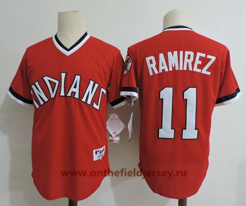 Men's Cleveland Indians #11 Jose Ramirez Red Pullover Cooperstown Collection Stitched MLB Majestic Cool Base Jersey