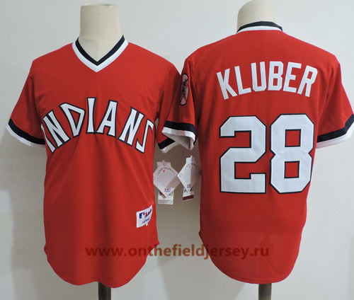 Men's Cleveland Indians #28 Corey Kluber Red Pullover Cooperstown Collection Stitched MLB Majestic Cool Base Jersey