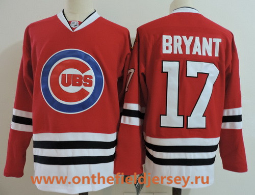 Men's Chicago Blackhawks #17 Kris Bryant Red with Cubs Logo Stitched Hockey Mixed Baseball Jersey
