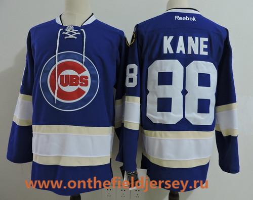 Men's Chicago Blackhawks #88 Patrick Kane Royal Blue with Cubs Logo Stitched Hockey Mixed Baseball Jersey
