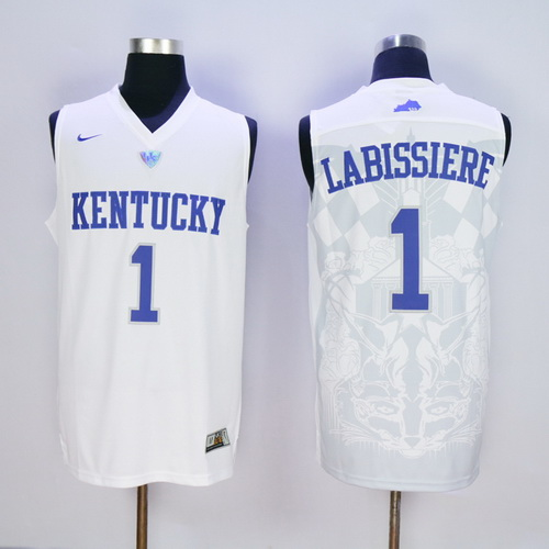 Men's Kentucky Wildcats #1 Skal Labissiere White College Basketball Stitched NCAA 2016 Nike Swingman Jersey