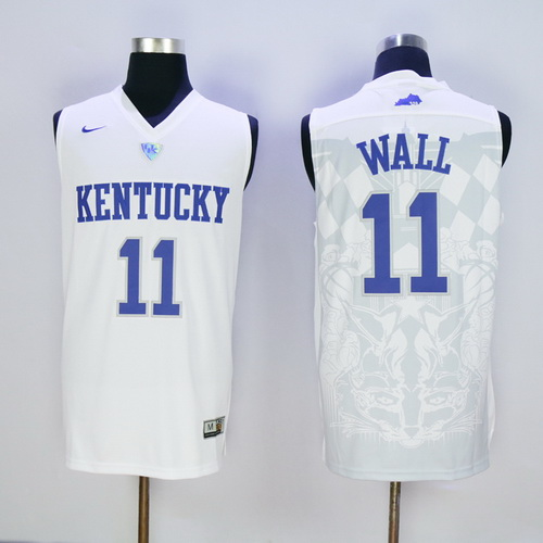 Men's Kentucky Wildcats #11 John Wall White College Basketball 2016 Nike Swingman Stitched NCAA Jersey