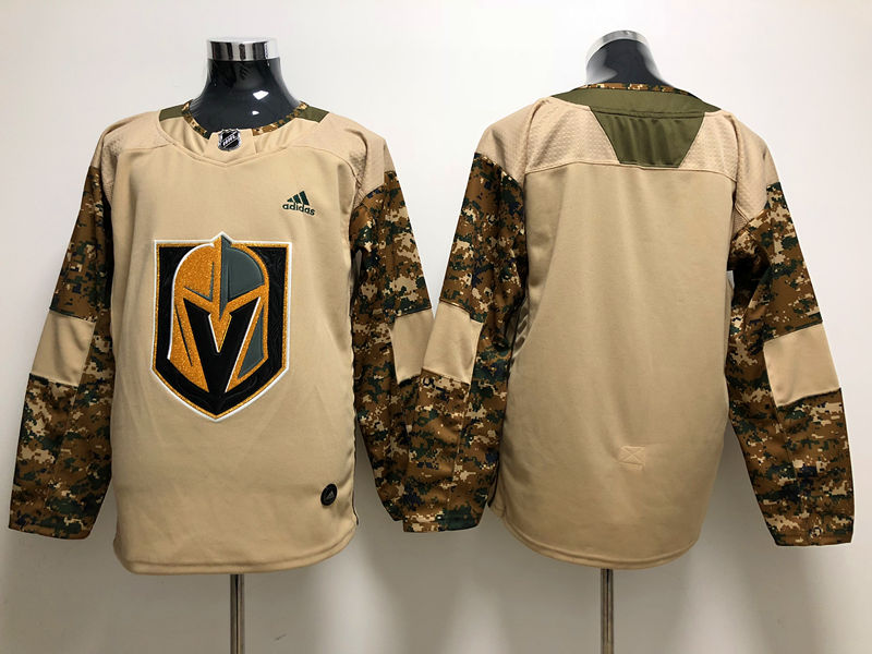 Men's Vegas Golden Knights Custom Camo Veterans Day Practice Stitched Adidas NHL Jersey