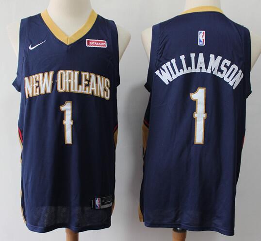 Men's New Orleans Pelicans #1 Zion Williamson Navy Blue Nike Swingman Stitched NBA Jersey