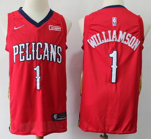 Men's New Orleans Pelicans #1 Zion Williamson Red Nike Swingman Stitched NBA Jersey
