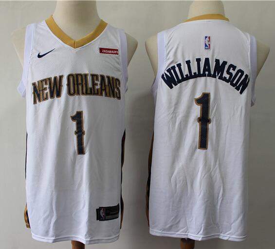 Men's New Orleans Pelicans #1 Zion Williamson White Nike Swingman Stitched NBA Jersey