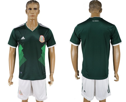 2018 World Cup Mexico National Team Home Green Men's Soccer Shirt Kit